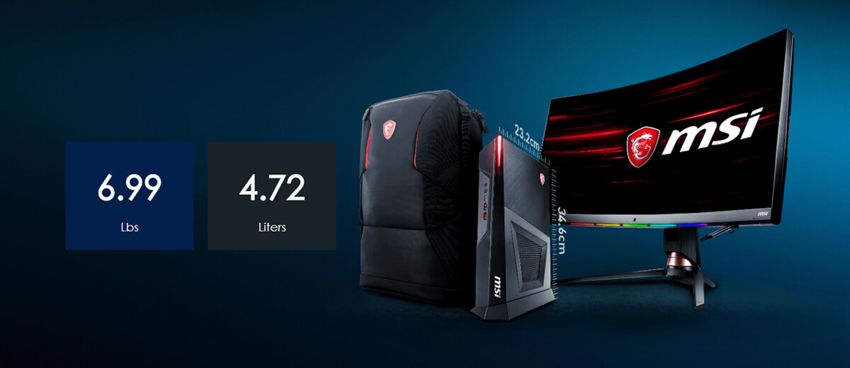 The desktop pc is placed between MSI backpack and MSI monitor, is quite smaller than these two.