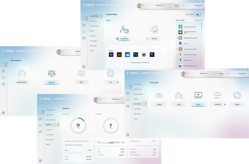 Software user interface of Creator Center