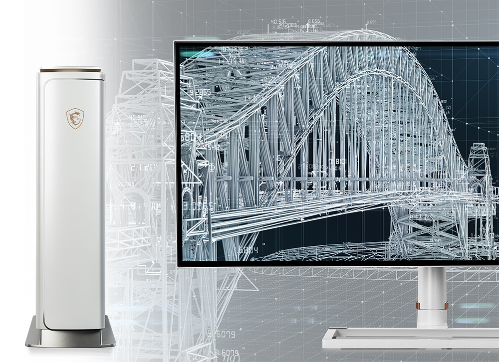 Creator P100X stand next to a monitor which has complicated 3D model on it.