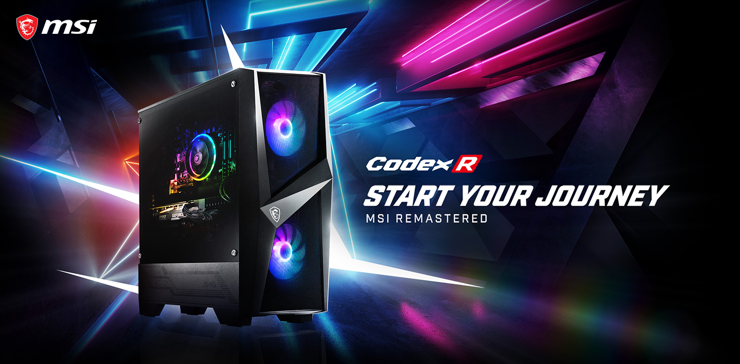 Hero Image: Codex R product image. The text right to it says: Codex R. START YOUR JOURNEY. MSI REMASTERED