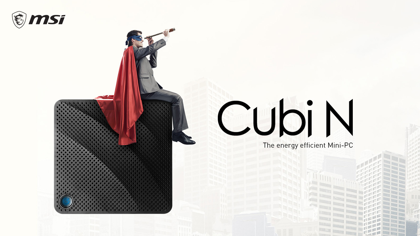 Hero Image: Front View of Cubi N. A man is sitting on it and looking into the distance. The text on the right says: Cubi N: The energy efficient Mini-PC