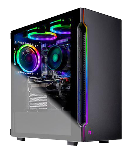 The desktop is tilted slightly to the right to show the front with LED strip and the side with three RGB fans inside