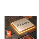 A Ryzen processor has illuminating base. And a VR premium icon is loacated at the left corner