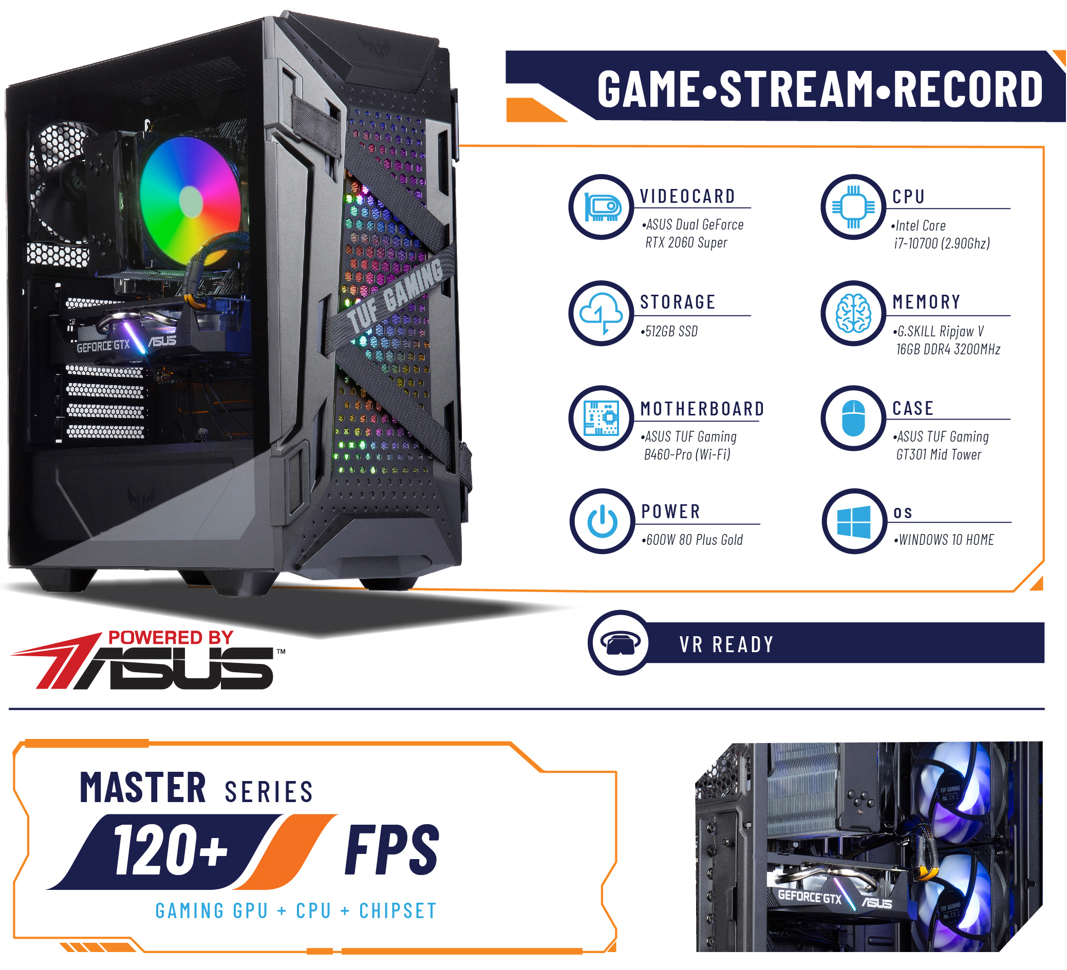 ABS TUF Gaming - Intel i7 10700 side view and specifications