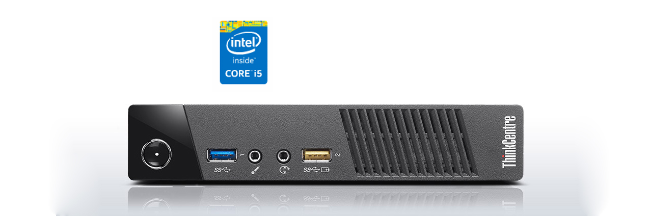 Intel 4th generation Core i5 processor icon is on top of a desktop PC facing foward.