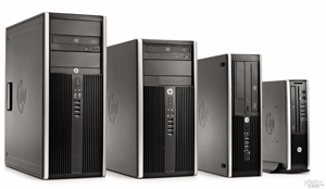 Four HP 8200 Elite Desktops in different form factors facing slightly toward right