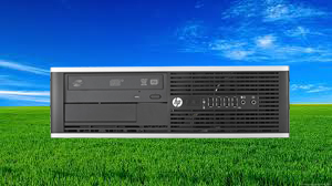 An HP 8200 Elite Desktop Small Form Factor in horizontal position, with grassland and sky in the background