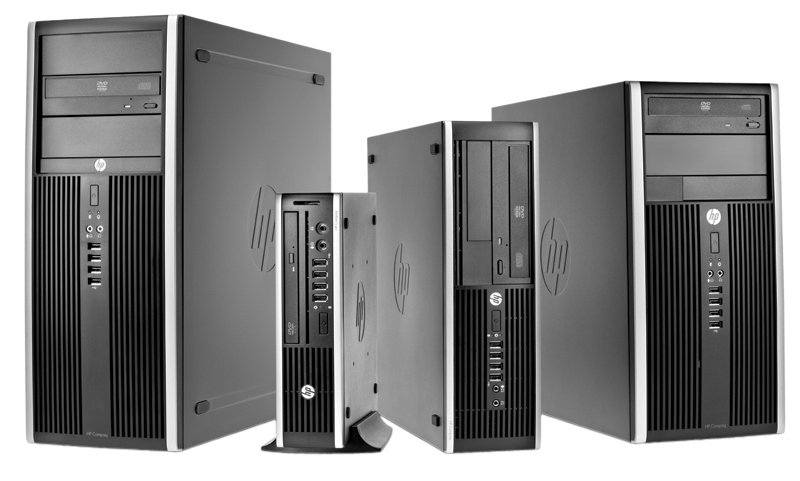 Four HP 8200 Elite Desktops in different form factors, from left to right: Convertible Minitower (CMT), Ultra-Slim Desktop (USDT), Small Form Factor (SFF), and Microtower (MT).