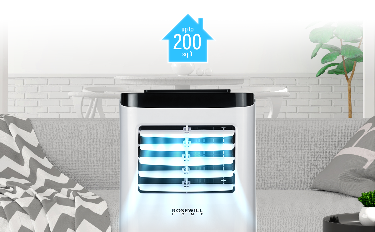 Rosewill Portable Air Conditioner Fan Dehumidifier 3 In 1 Cool Series Parallel Circuits Refrigeration Conditioning Dvd 5 Effectively Covers Spaces Up To 200 Sq Ft Home Office Cabin Or Campers Uses Standard 115v Electrical Outlet Window Kit And Exhaust Hose Are All