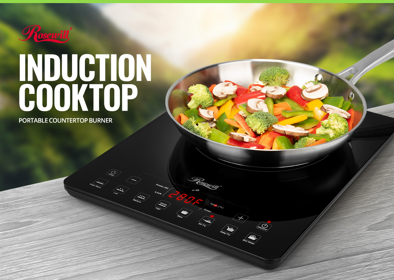Rosewill Energy Efficient Induction Cooker on a Wooden Table Outdoors During the Day. The Rosewill Logo Is On Screen and There Is Text That Reads: INDUCTION COOKTOP - PORTABLE COUNTERTOP BURNER