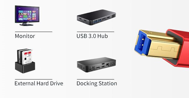 Monitor, USB 3.0 hub, external hard drive, and docking station are on display