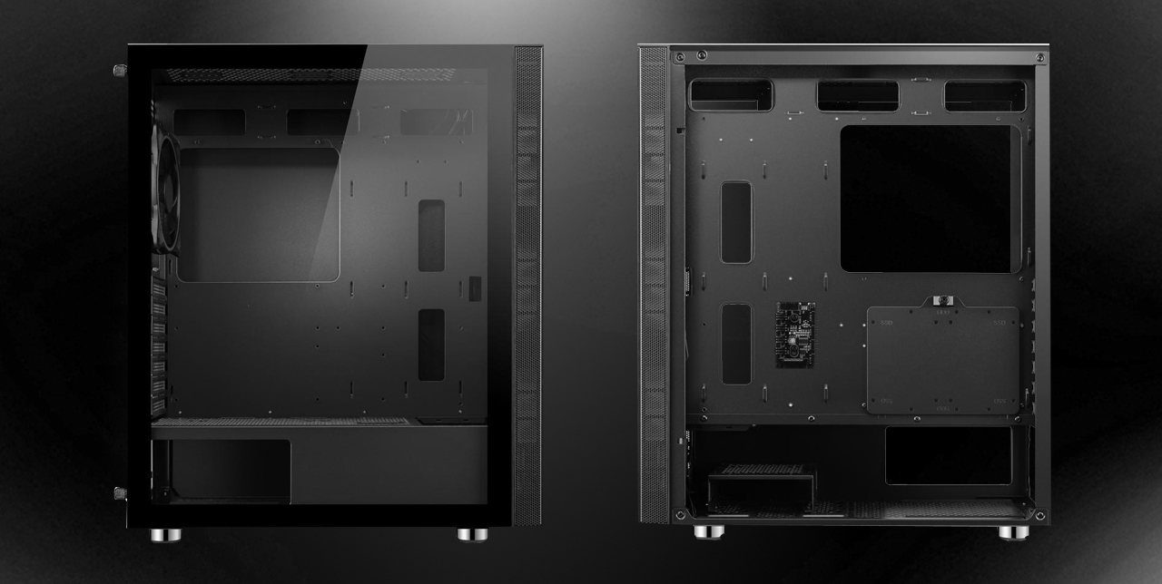 Two DIYPC AVVUS-BK-ARGB ATX Mid Tower Computer Cases with one having the transparent side panel facing front and the other one having the opaque side panel facing front.