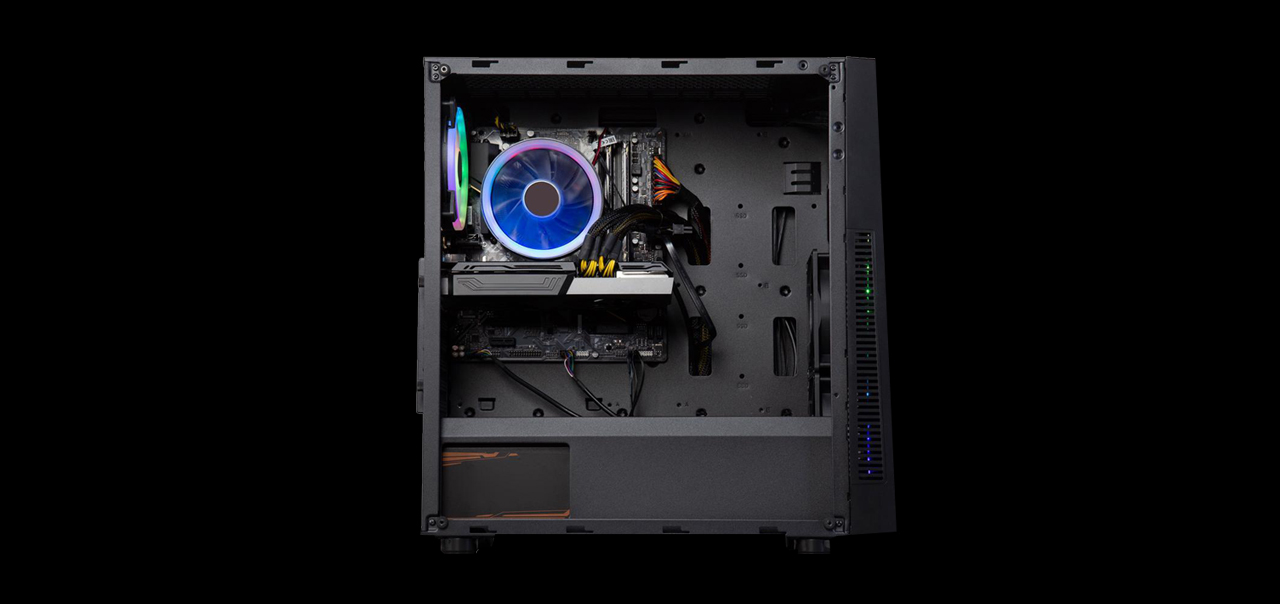 An ABS Gladiator Gaming PC has its transparent side panel removed and facing front.