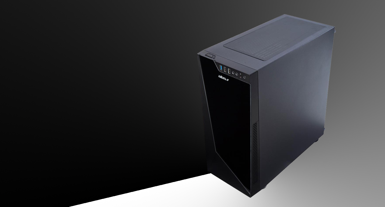 An ABS Gladiator Gaming PC tilted slightly to the left shows the right panel, top panel and front panel