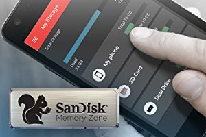 A finger tapping on the phone screen. At bottom left is a badge of SanDisk Memory Zone