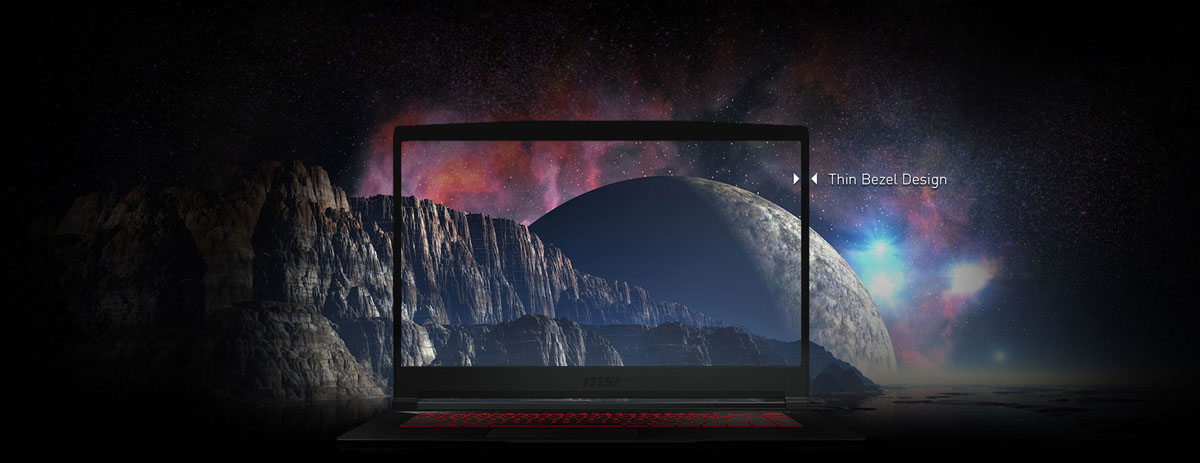 Front view of the laptop screen, with texts pointing out the thin bezel design. The background is gorgeous scenery of alien planet