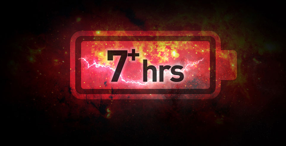 "Clipart of a large battery, with texts reading as ""7+ hours"" at the center. The background is red sky with lightning and red cloud"
