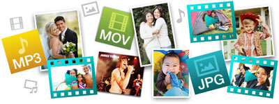 An array of photos, with logos of MP3, MOV and JPG