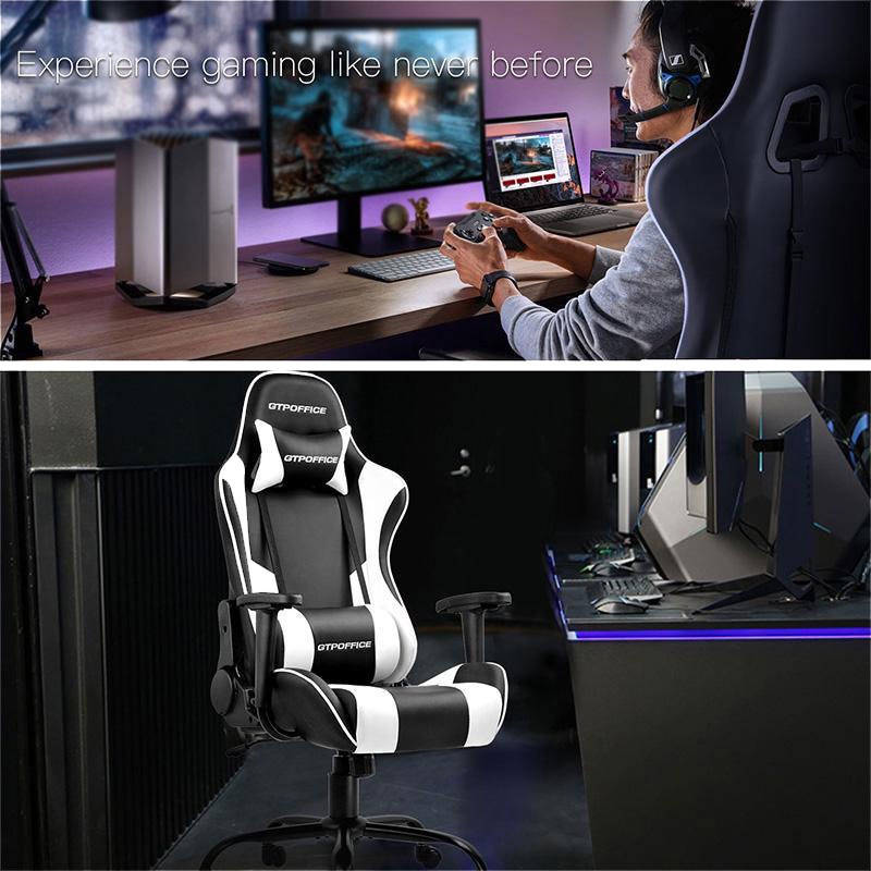 Gtracing Gaming Chair Massage Office Computer Gtpoffice Series Racing Chair For Adult Reclining Adjustable Swivel Leather Chair High Back Desk Chair Headrest And Massage Lumbar Support Cushion Newegg Com