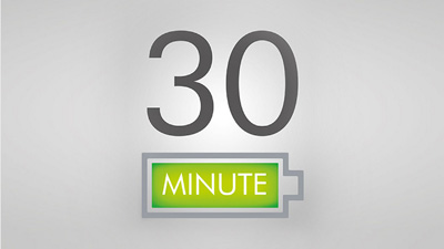 a green battery icon and up to 30 minutes mark