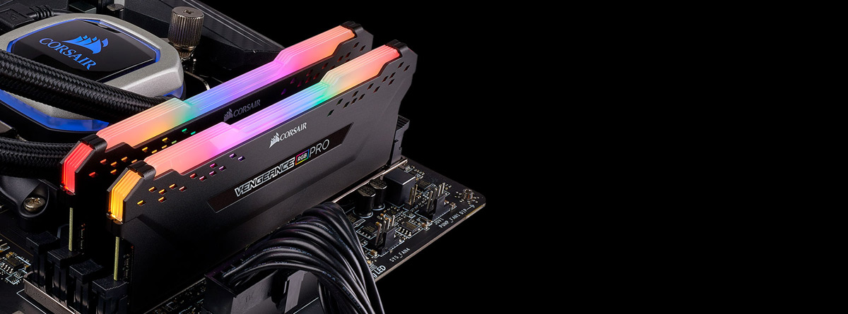Two RAMs installed on motherboard, with rainbow RGB lighting