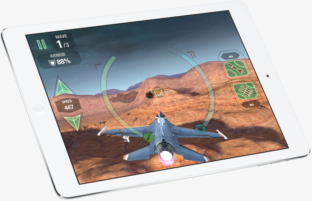 The iPad Air with screen showing a flight combat game