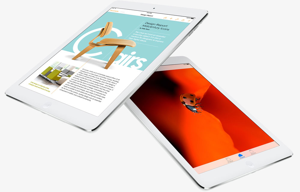 Two iPad Air, with one partially stacking over the other one