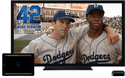 A TV showing a baseball game, and in front of it are an iPad Air and Apple TV