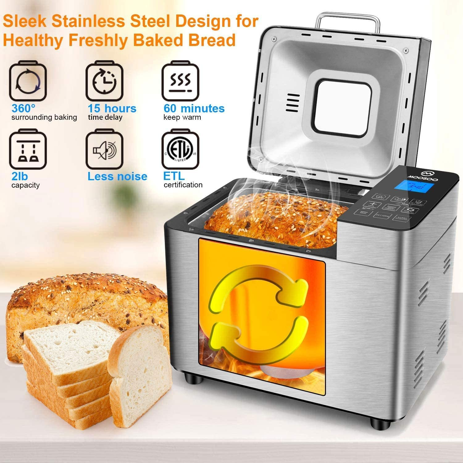 Kitchen & Dining Small Appliances Stainless Steel Bread Machine ...