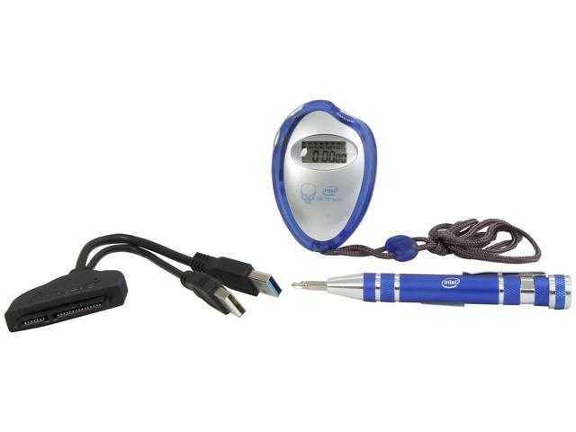 Intel SSD Upgrade kit including a SATA to USB3.0 data transfer cable, screwdriver & Stop watch