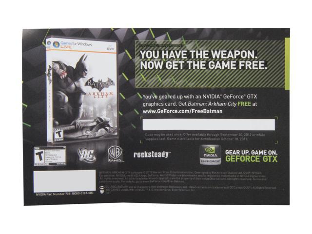NVIDIA Gift - BATMAN Arkham City Game Coupon