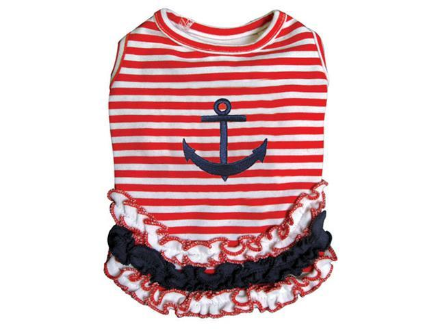 Cute and Stripy Dog Sailor Shirt with Ruffles - M