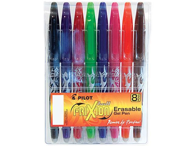 Pilot 31569, FriXion Ball Erasable Gel Ink Stick Pen, Assorted Ink, .7mm, 8/Pack Pouch