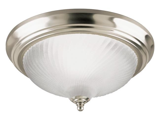 Westinghouse 64304 1 Light Brushed Nickel Flush Mount Ceiling Fixture With Frosted Swirl Glass