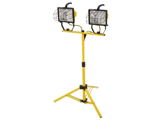 Designers Edge Safety Yellow Two 500 Watt Portable Halogen Work Light