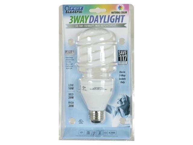 Feit Electric BPESL50/150T/D 10, 20 & 28 Watt Daylight Compact Fluorescent 3 Way Light Bulb