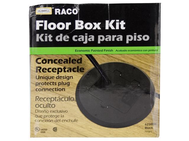 Hubbell Raco 6239BK Black Concealed Receptacle Floor Box Kit ...