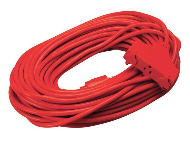 Coleman Cable 04219 100' 14/3 Red 3-Outlet Round Red Extension Cord