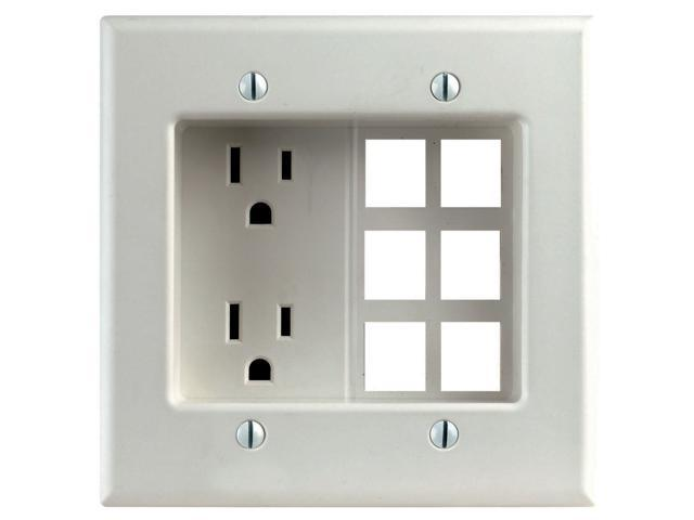Leviton R42-00690-00W White Decora® Residential Recessed 2 Gang ...
