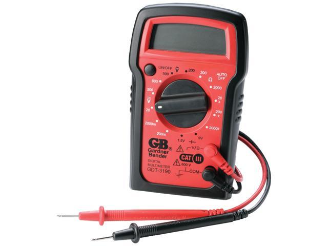 GB Gardner Bender GDT-3190 14 Range 4-Function Manual Ranging Digital Multimeter With Rubber Boot