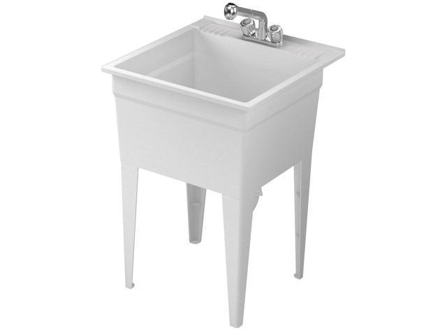 American Shower & Bath 103001 White Granite All-In-1 Utility Tub