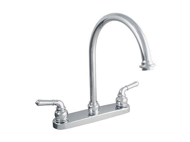 LDR 952-36415CP Exquisite Dual Tulip Handle Kitchen Faucet with Gooseneck Spout
