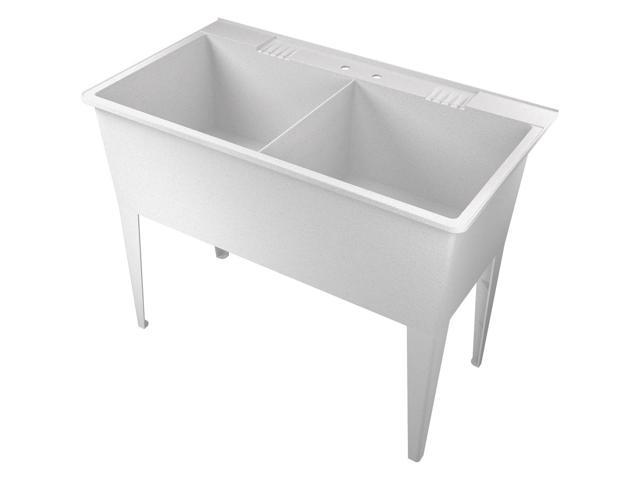 American Shower & Bath 102000 White Granite Double Utility Tub