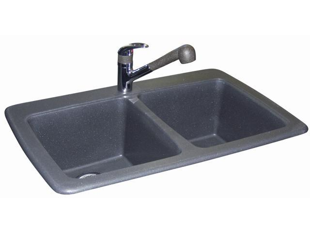 Kindred FGS3322-1 Slate Granite Double Bowl Kitchen Sink