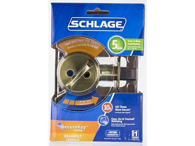 Schlage B60NSKV609 Antique Brass Keyed Deadbolt
