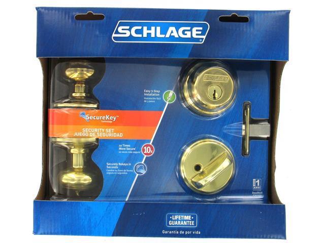 Schlage FB50VGEO505 Bright Brass Two Point Locking Security Set
