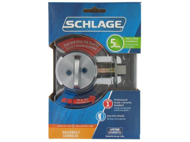 Schlage B60NV626 Satin Chrome Single Cylinder Deadbolt
