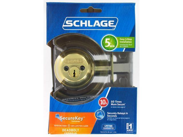 Schlage B62NV505/605 Bright Brass Double Cylinder Deadbolt