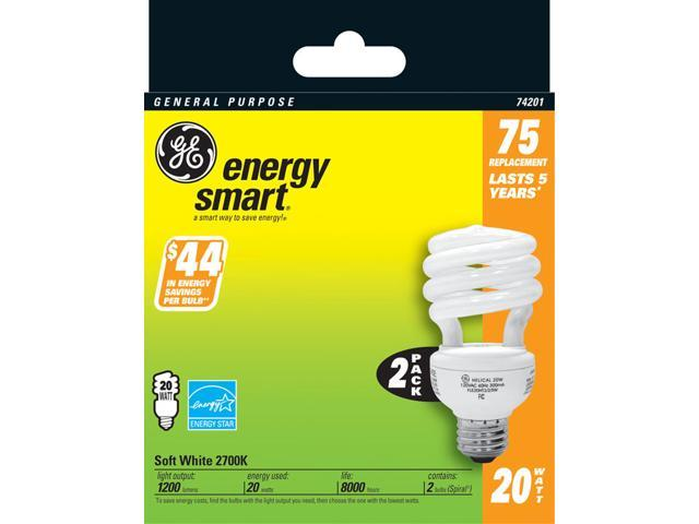 GE Lighting 74201 2 Count 20 Watt Soft White General Purpose Spiral Light Bulb