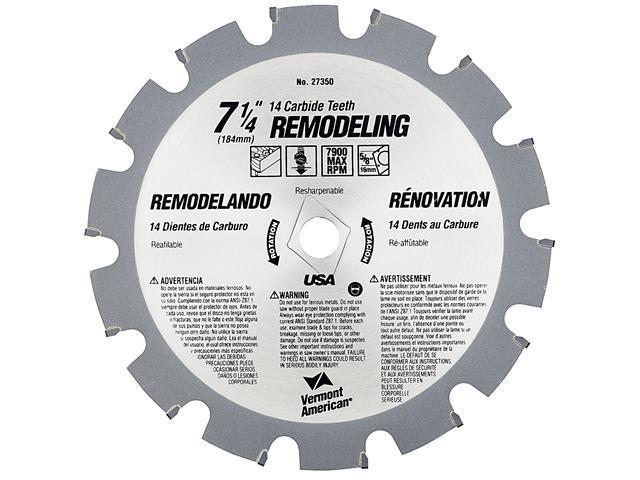 """Vermont American 27350 14 TPI 7-1/4"""" Semi-Industrial Carbide Tipped Circular Saw Blade"""